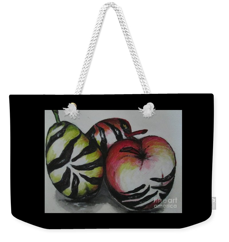 Apple Pear Fruit Black White Abstract Zebra Weekender Tote Bag featuring the painting Wild Fruits by Liz Lafalce
