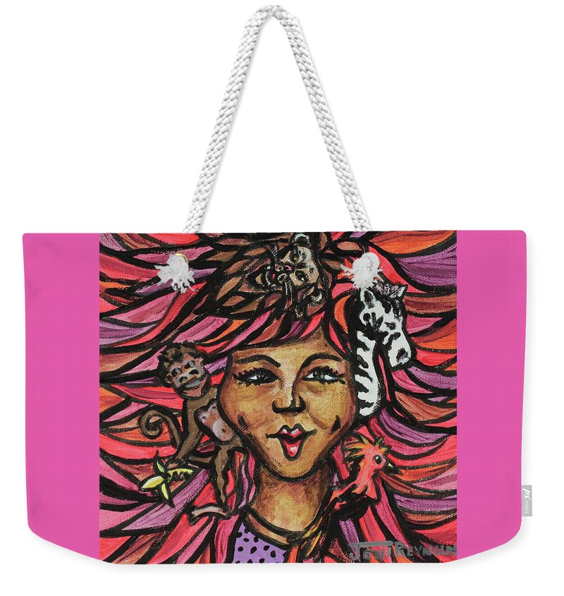 Wild Weekender Tote Bag featuring the painting Wild Hair by Jeni Reynolds