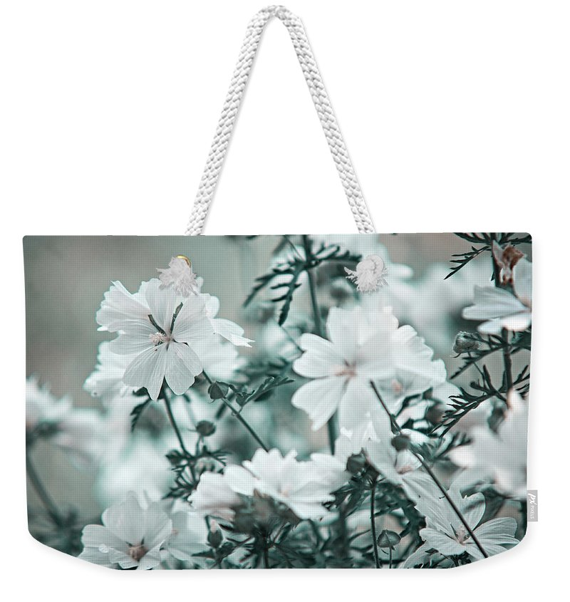 Jenny Rainbow Fine Art Photography Weekender Tote Bag featuring the photograph Wild Hollyhock. Nature In Alien Skin by Jenny Rainbow