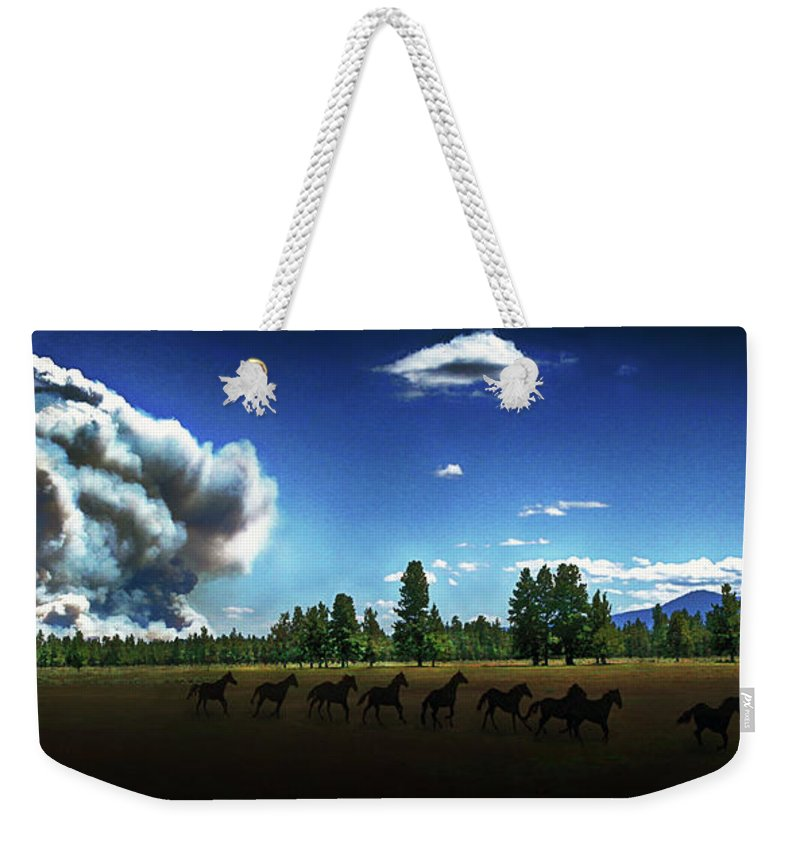 Fire Weekender Tote Bag featuring the photograph Wild Horse Fire by Don Schimmel