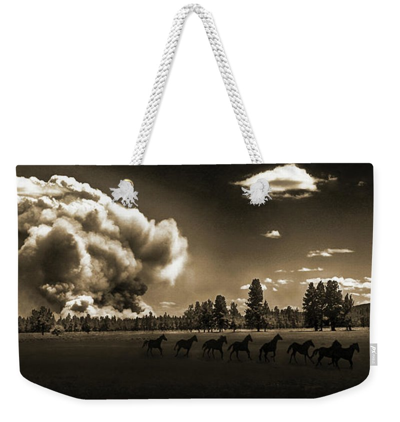 Fire Weekender Tote Bag featuring the photograph Wild Horse Fire, Sepia by Don Schimmel