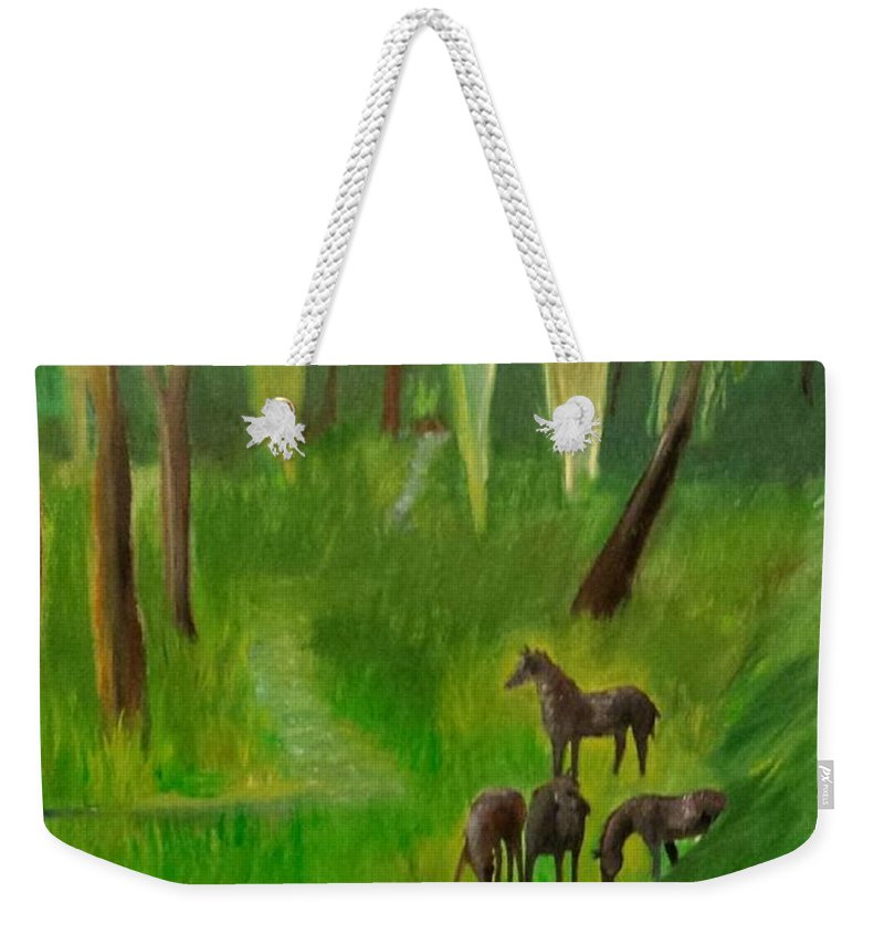Horses Weekender Tote Bag featuring the painting Wild Horses by Cindy Harvell