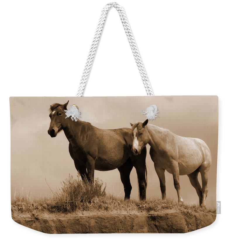 Horses Weekender Tote Bag featuring the photograph Wild Horses In Western Dakota by Cris Fulton