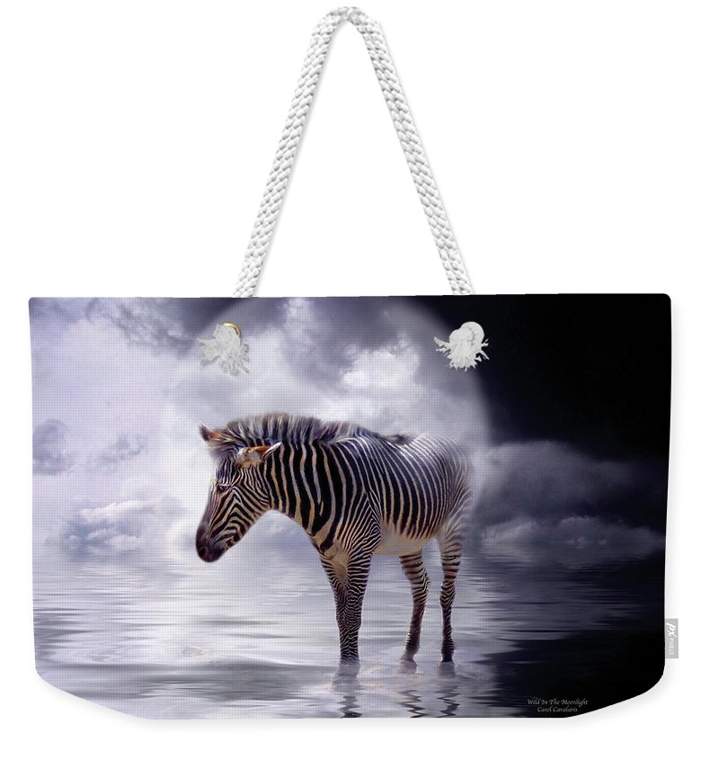 Zebra Weekender Tote Bag featuring the mixed media Wild In The Moonlight by Carol Cavalaris