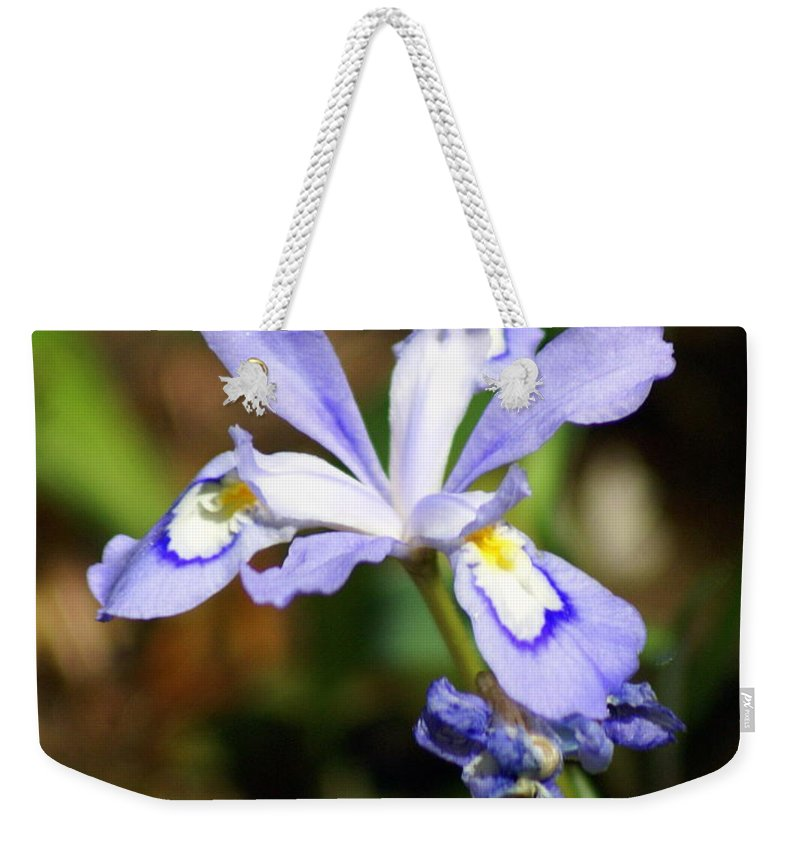Wild Iris Weekender Tote Bag featuring the photograph Wild Iris by Marty Koch
