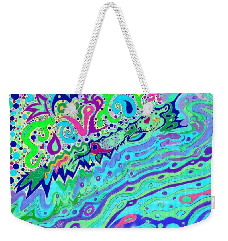 Wild Weekender Tote Bag featuring the drawing Wild Island 1 And 2 Combined by Julia Woodman
