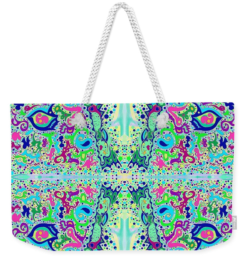 Wild Weekender Tote Bag featuring the drawing Wild Island Creation 1 Fractal B by Julia Woodman