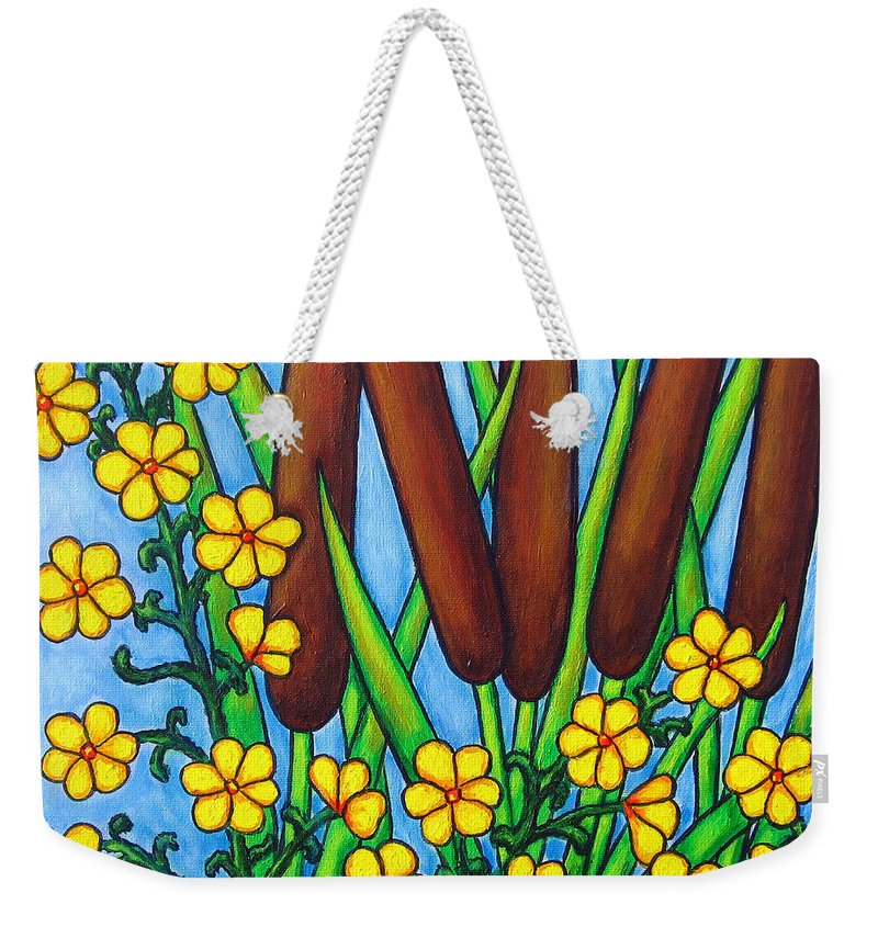 Cat Tails Weekender Tote Bag featuring the painting Wild Medley by Lisa Lorenz