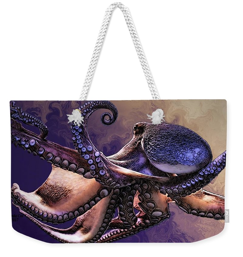 Digital Art Weekender Tote Bag featuring the digital art Wild Octopus by Artful Oasis