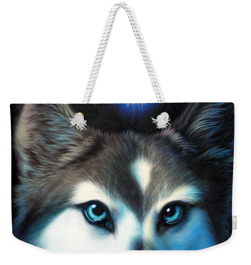 Wolf Weekender Tote Bag featuring the photograph Wild One by MGL Meiklejohn Graphics Licensing