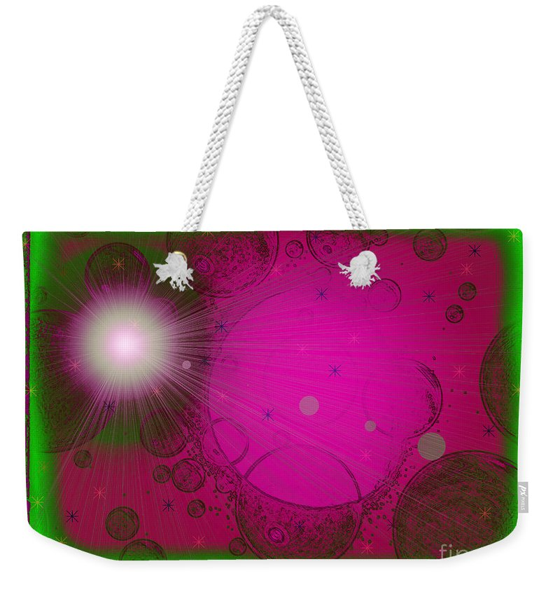 Pink Weekender Tote Bag featuring the mixed media Wild Planet B-52 by Roxy Riou