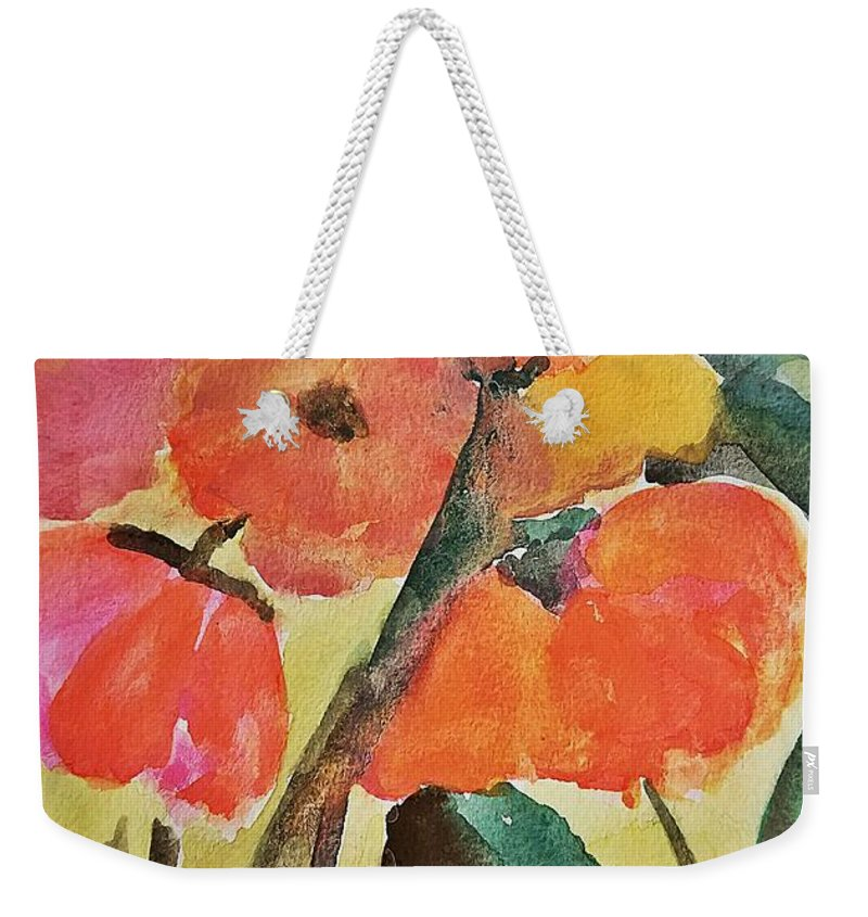 Wild Poppies Weekender Tote Bag featuring the painting Wild Poppies by Maria Urso