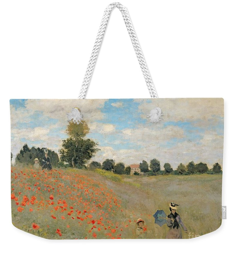 Wild Weekender Tote Bag featuring the painting Wild Poppies Near Argenteuil by Claude Monet