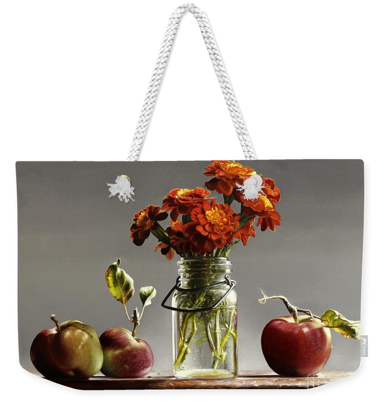 Marigolds Weekender Tote Bag featuring the painting Wild Red Apples With Marigolds by Lawrence Preston