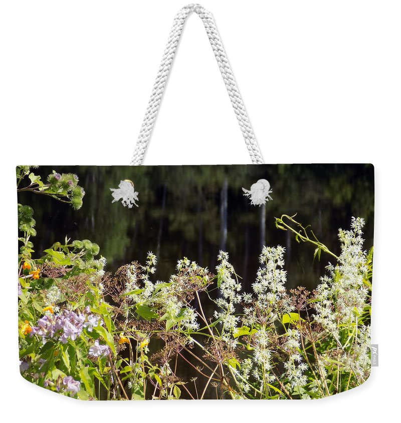 Weeds Weekender Tote Bag featuring the photograph Wild Riverside Weeds And Flowers by William Tasker