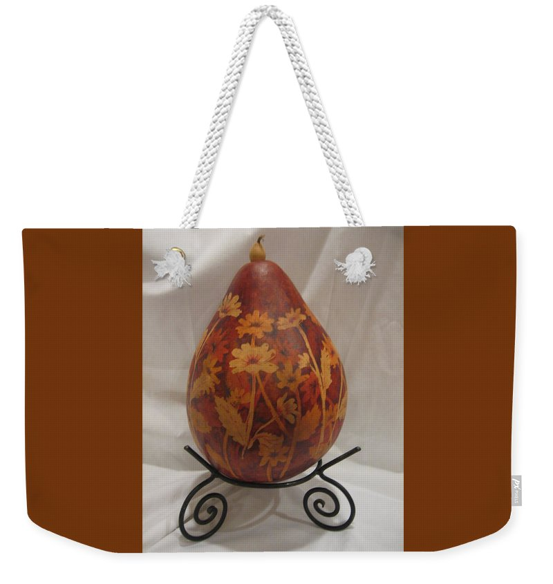 Gourd Weekender Tote Bag featuring the mixed media Wild Sunflowers by Barbara Prestridge