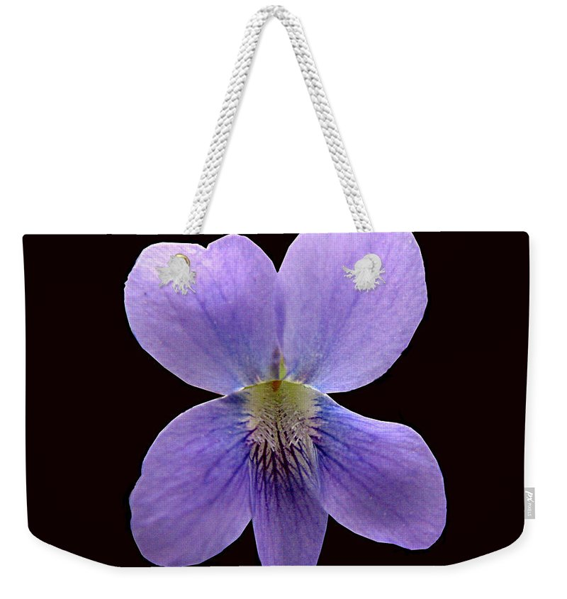 Violet Weekender Tote Bag featuring the photograph Wild Violet On Black by J M Farris Photography