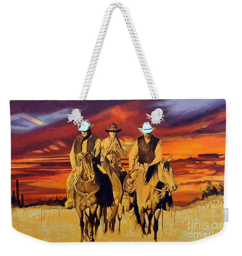 Cowboys Weekender Tote Bag featuring the painting Arizona Sunset by Michael Stoyanov