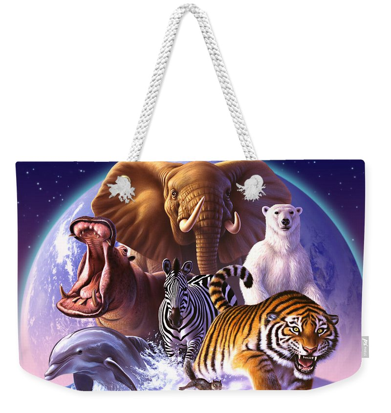Mammals Weekender Tote Bag featuring the painting Wild World by Jerry LoFaro