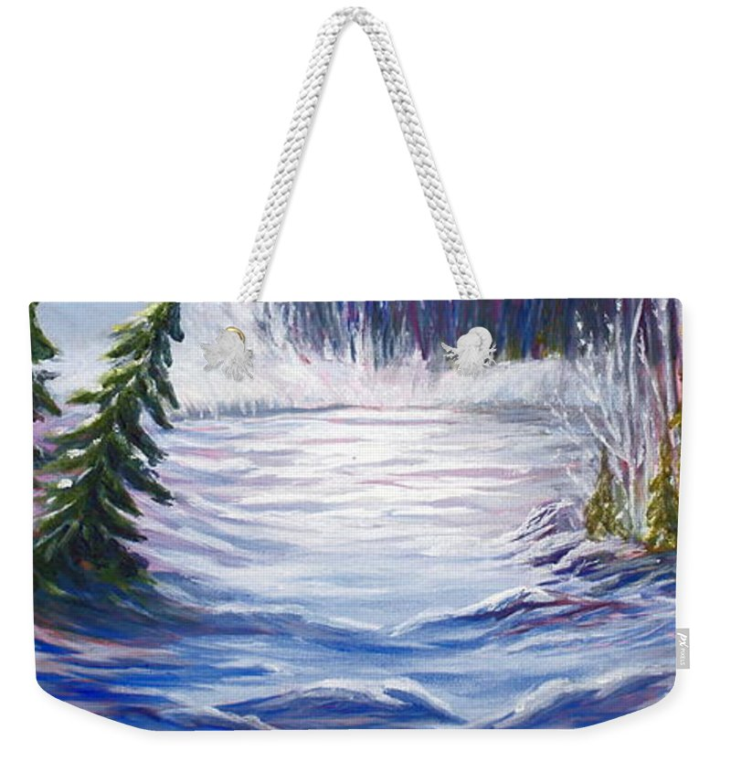 Northern Canada Winter Wilderness Forest Weekender Tote Bag featuring the painting Wilderness by Joanne Smoley