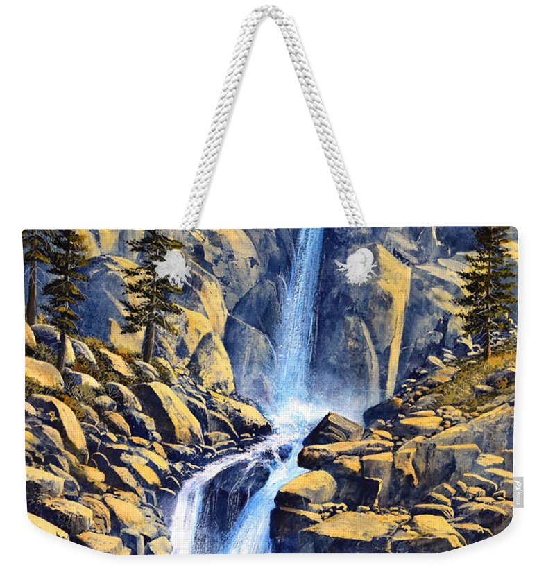 Wilderness Waterfall Weekender Tote Bag featuring the painting Wilderness Waterfall by Frank Wilson