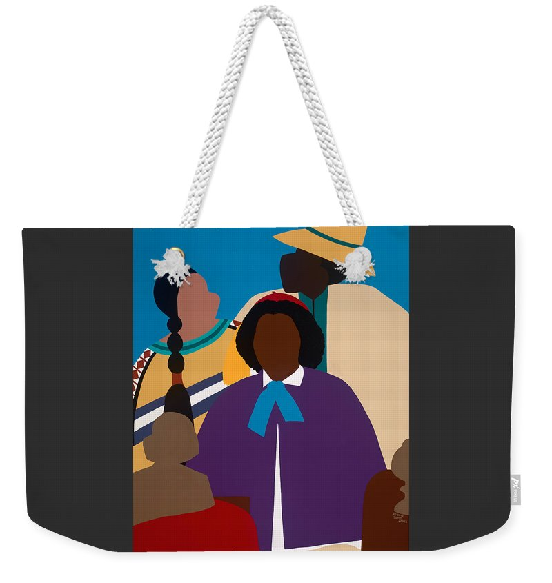 Figurative Weekender Tote Bag featuring the painting Wildfire A Tribute To Edmonia Lewis by Synthia SAINT JAMES