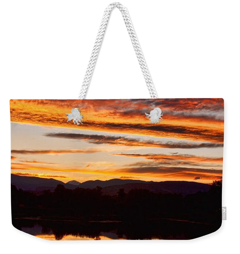 Sunset Weekender Tote Bag featuring the photograph Wildfire Sunset 1v by James BO Insogna