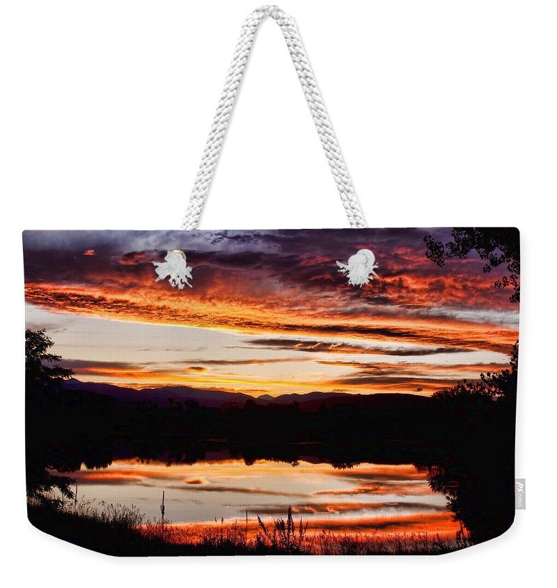 Sunset Weekender Tote Bag featuring the photograph Wildfire Sunset Reflection Image 28 by James BO Insogna
