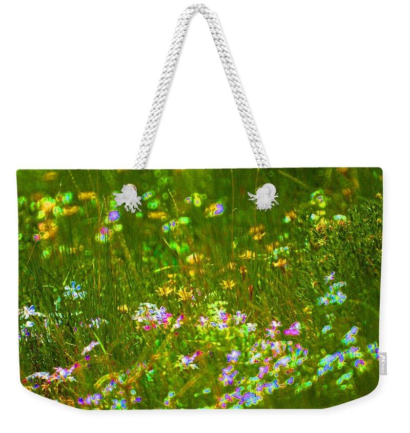 Wildflower Weekender Tote Bag featuring the photograph Wildflower Field by Heather Coen