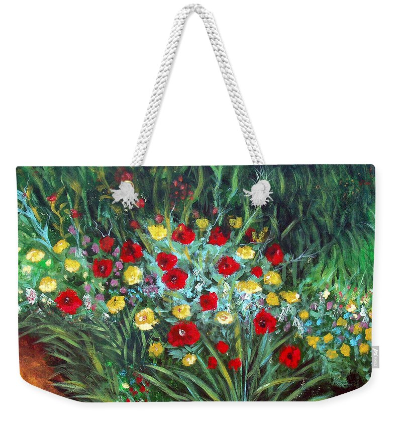 Abstract Weekender Tote Bag featuring the painting Wildflower Garden 1 by Nancy Mueller