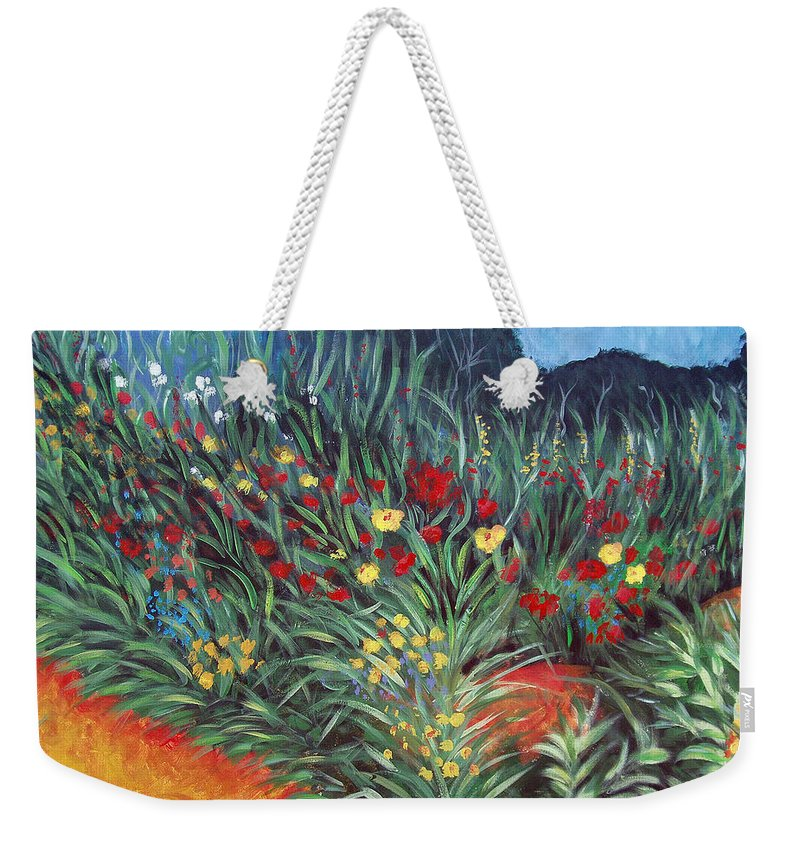 Landscape Weekender Tote Bag featuring the painting Wildflower Garden 2 by Nancy Mueller