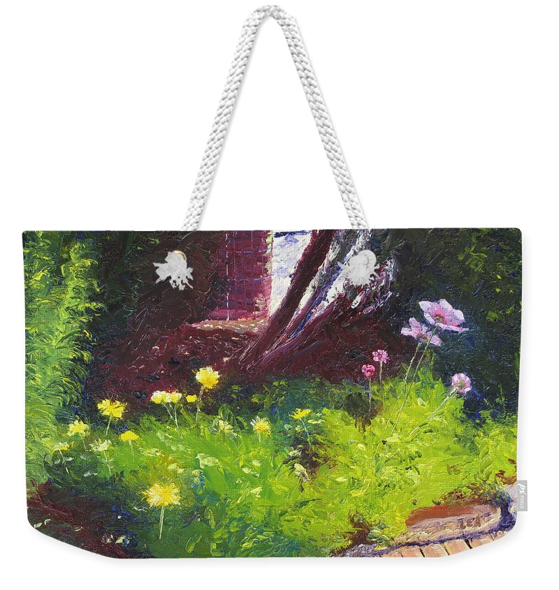 Landscape Weekender Tote Bag featuring the painting Wildflower Garden by Lea Novak
