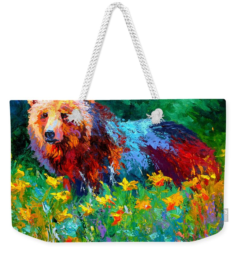 Bear Weekender Tote Bag featuring the painting Wildflower Grizz II by Marion Rose