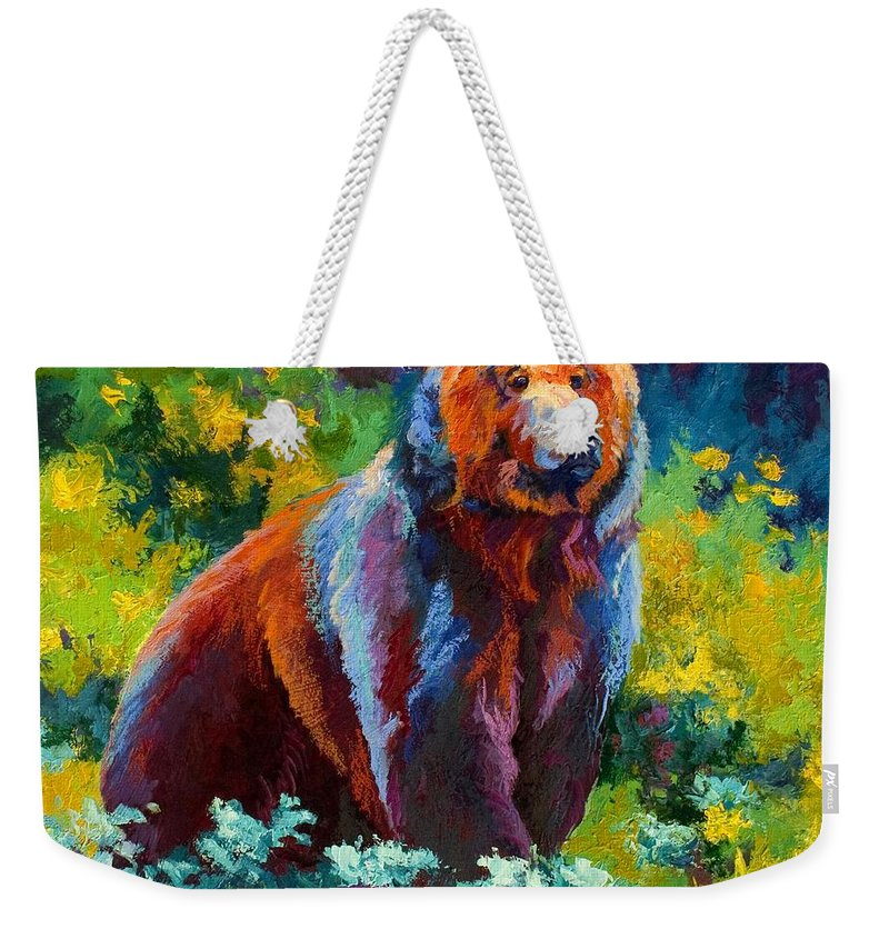 Bear Weekender Tote Bag featuring the painting Wildflower Grizz by Marion Rose