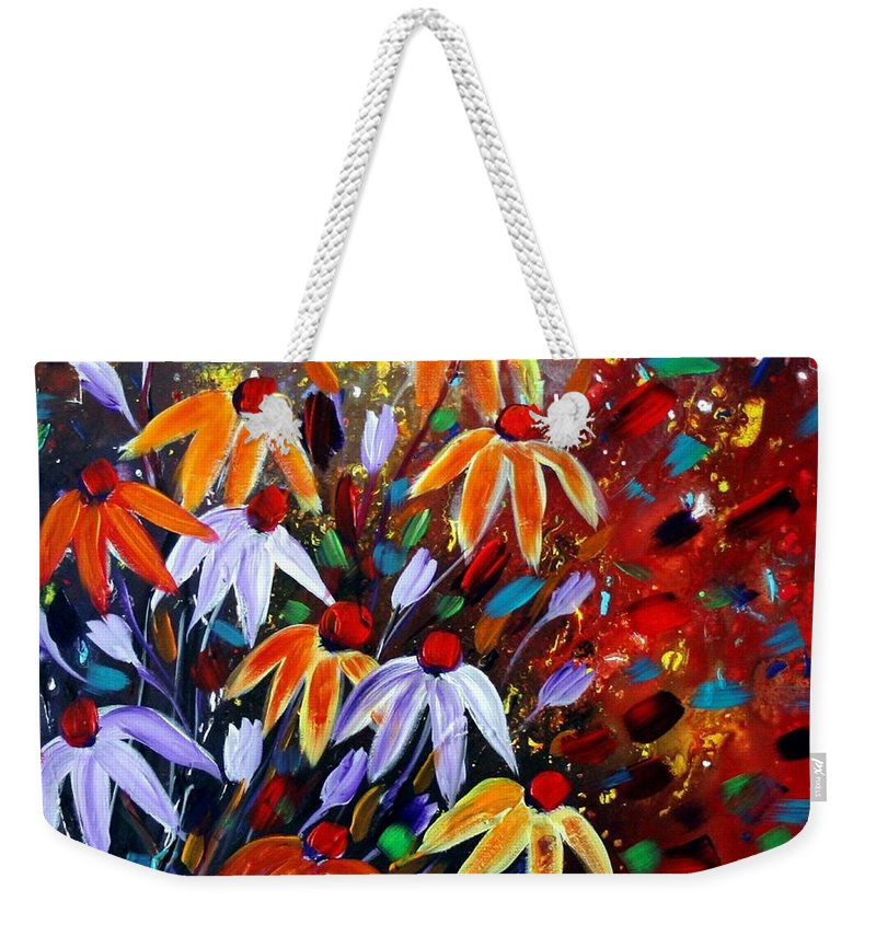 Flowers Weekender Tote Bag featuring the painting Wildflowers At Sunset by Luiza Vizoli