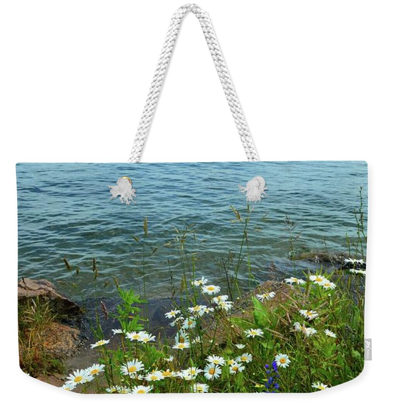 Nature Weekender Tote Bag featuring the photograph Wildflowers By The Lake by Lyle Crump