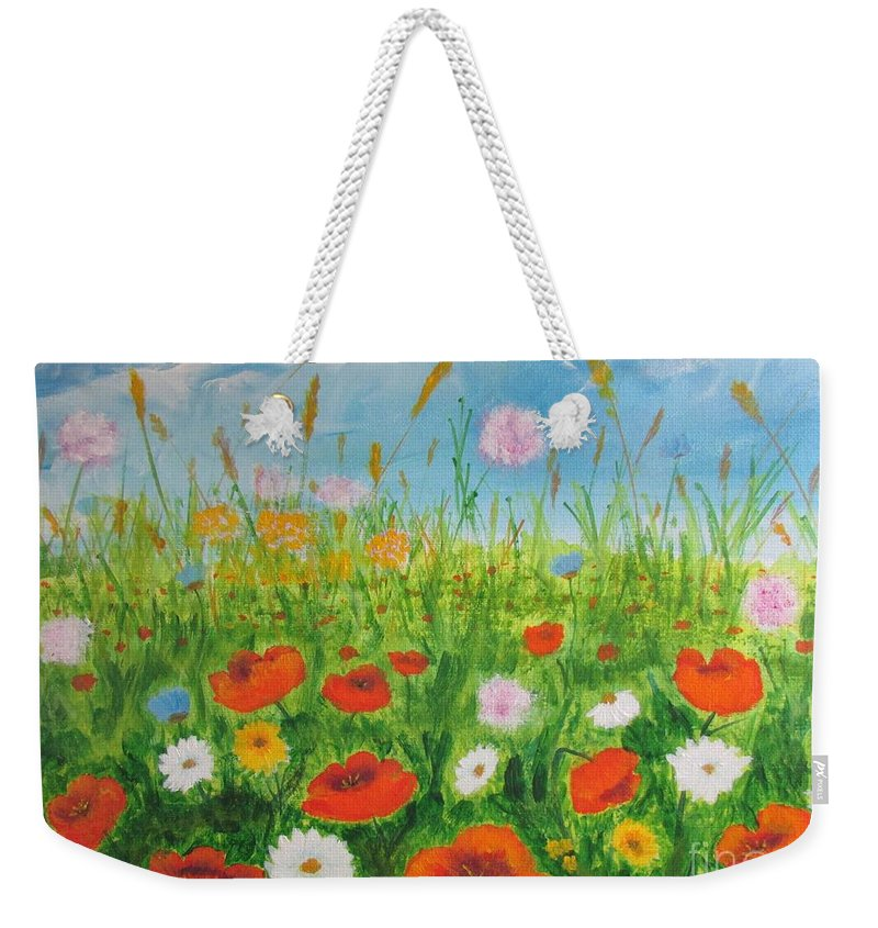Nature Weekender Tote Bag featuring the painting Wildflowers Field by Galina Haakenson