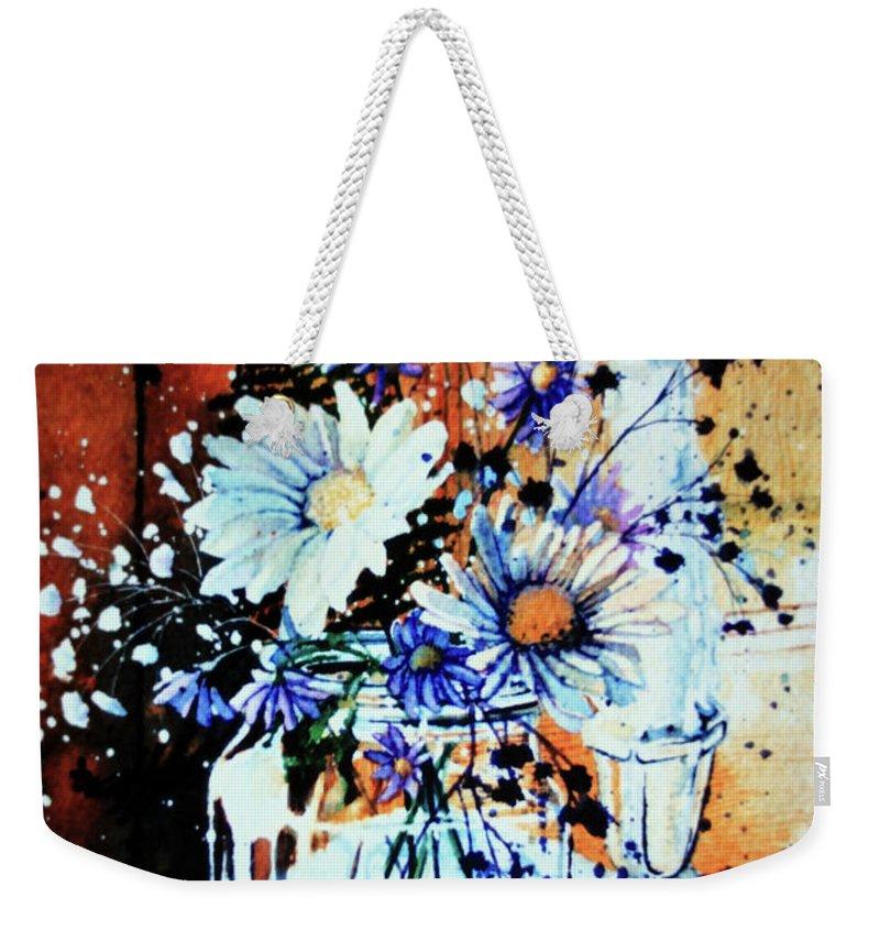 Wildflowers In A Mason Jar Weekender Tote Bag featuring the painting Wildflowers In A Mason Jar by Hanne Lore Koehler
