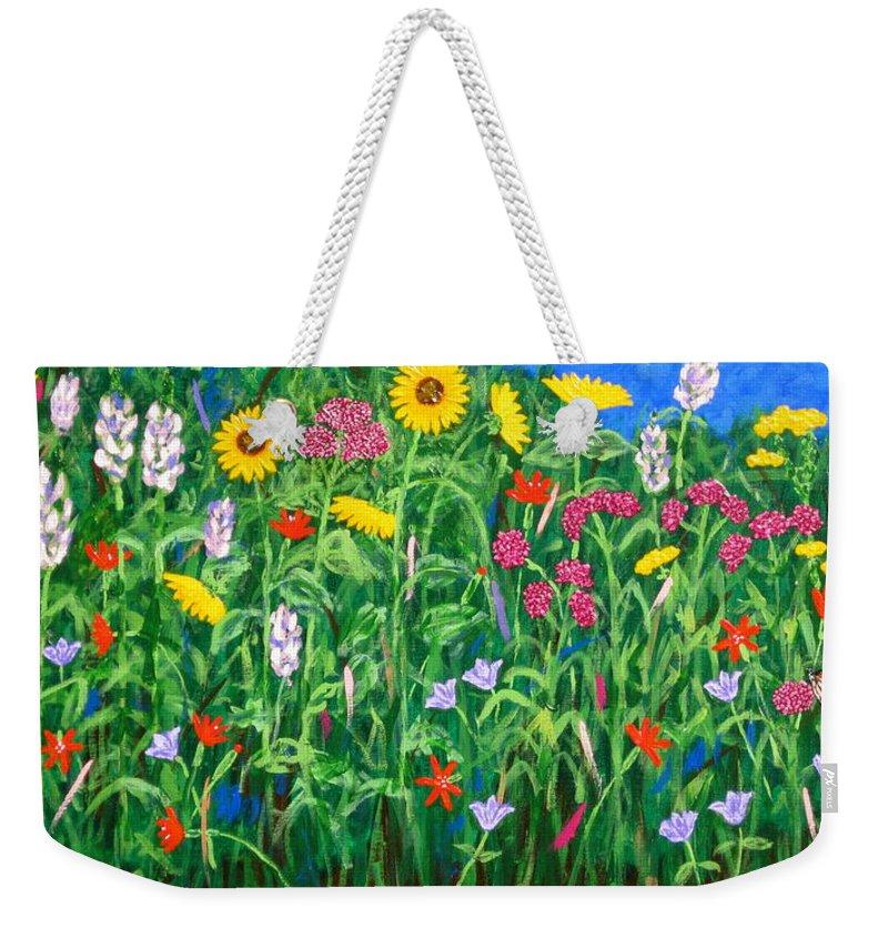 Wildflowers Painting Weekender Tote Bag featuring the painting Wildflowers by J Loren Reedy