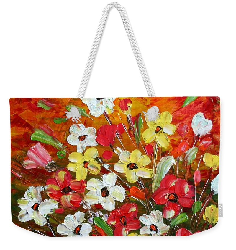 Flowers Weekender Tote Bag featuring the painting Wildflowers by Luiza Vizoli