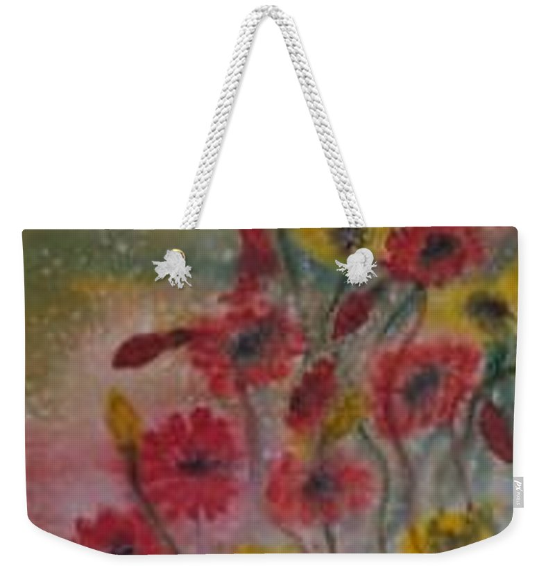 Watercolor Weekender Tote Bag featuring the painting Wildflowers Still Life Modern Print by Derek Mccrea