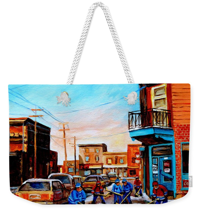 Hockey Weekender Tote Bag featuring the painting Wilensky's A Friendly Game Of Hockey by Carole Spandau