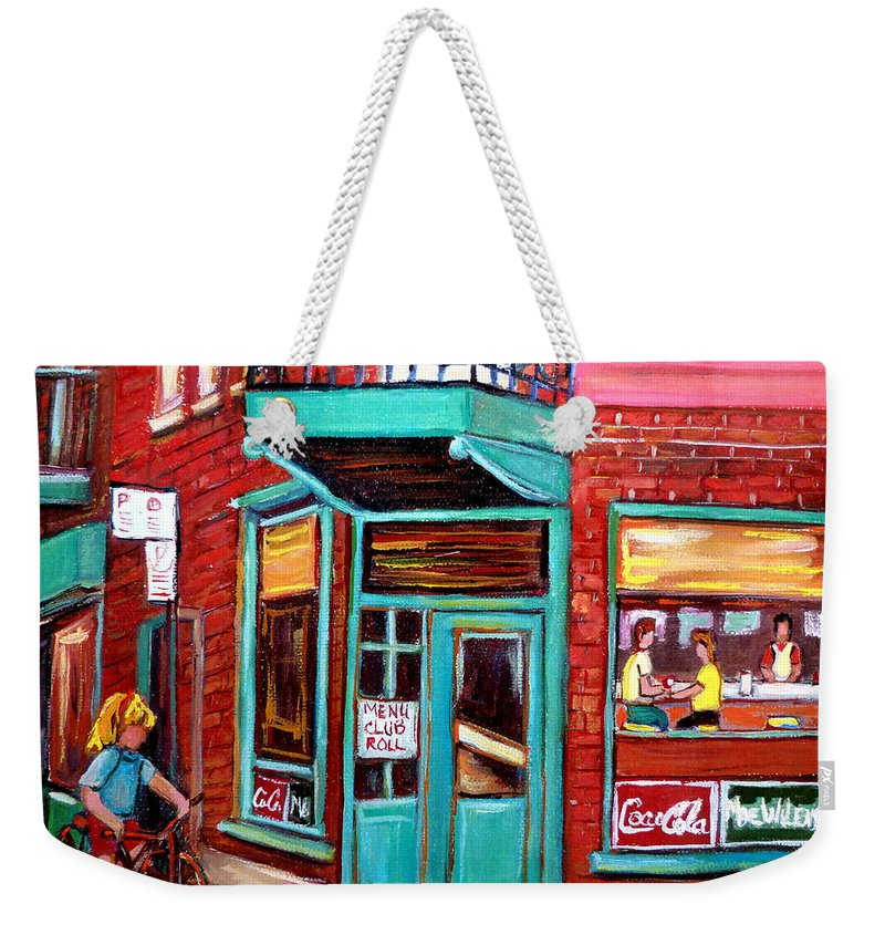 Wilensky\'s Cafe Weekender Tote Bag featuring the painting Wilenskys Cafe On Fairmount In Montreal by Carole Spandau