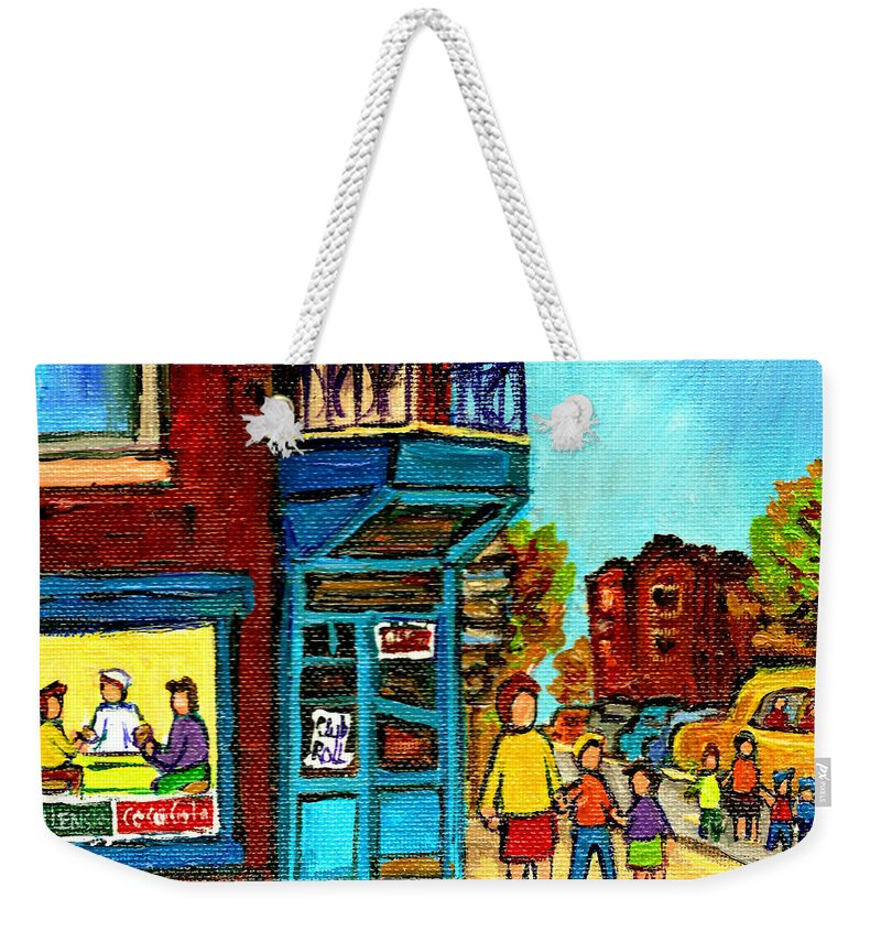 Montreal Weekender Tote Bag featuring the painting Wilensky's Counter With School Bus Montreal Street Scene by Carole Spandau
