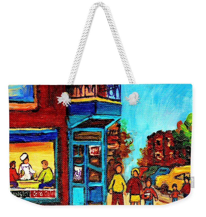 Montreal Weekender Tote Bag featuring the painting Wilensky's Lunch Counter With School Bus Montreal Street Scene by Carole Spandau