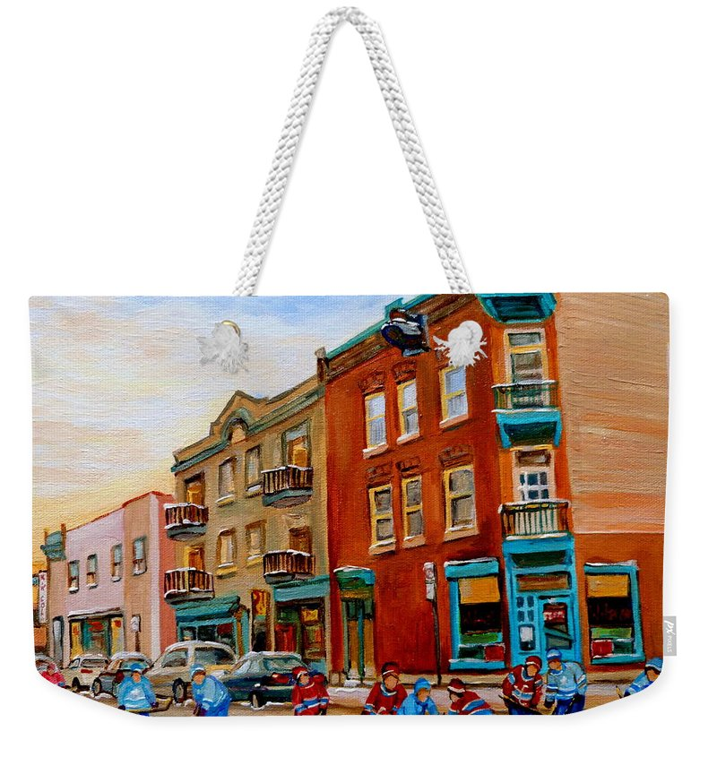 Wilenskys Deli Weekender Tote Bag featuring the painting Wilensky's Street Hockey Game by Carole Spandau