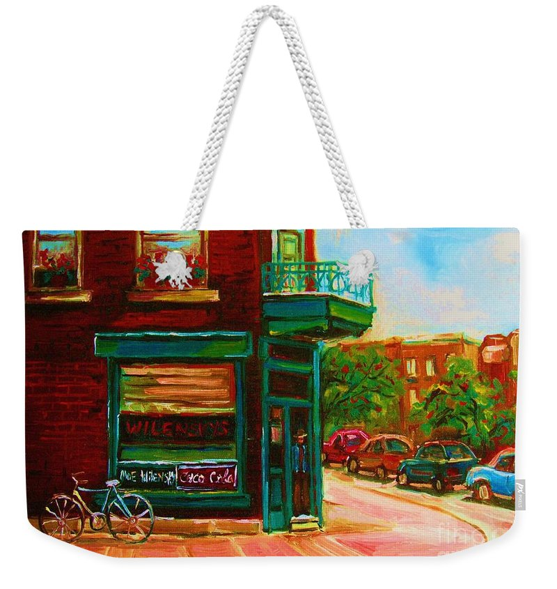 Wilenskys Weekender Tote Bag featuring the painting Wilenskys With Red Geraniums by Carole Spandau