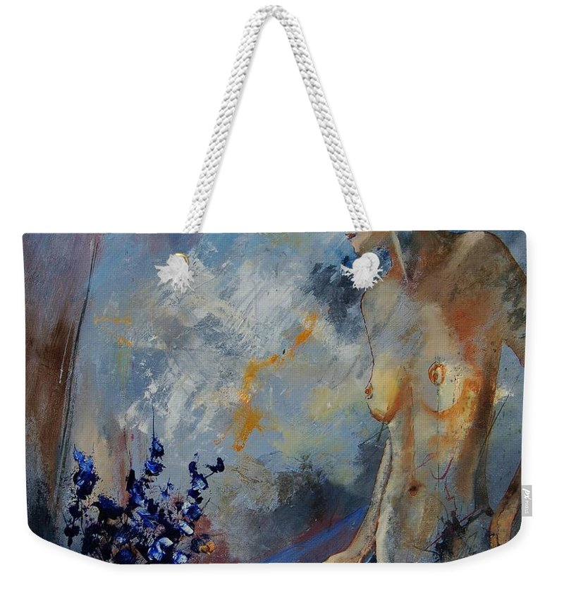 Girl Weekender Tote Bag featuring the painting Will He Be Coming by Pol Ledent