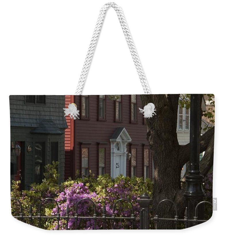 William Street Weekender Tote Bag featuring the photograph William Street In Bloom by Steven Natanson