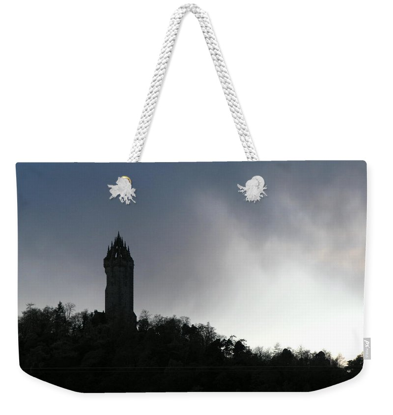 William Wallace Weekender Tote Bag featuring the photograph William Wallace Monument by Maria Joy